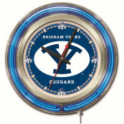 "Brigham Young University Double Neon Ring 15"" Dia. Logo Clock"