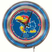 "University of Kansas Double Neon Ring 15"" Dia. Logo Clock"