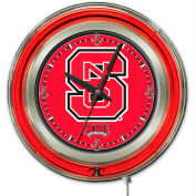 "North Carolina State University Double Neon Ring 15"" Dia. Logo Clock"