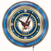 "United States Navy Double Neon Ring 15"" Dia. Logo Clock"