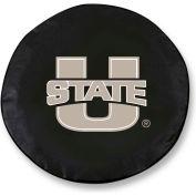 Utah State University Black Tire Cover-TCLGUTAHSTBK
