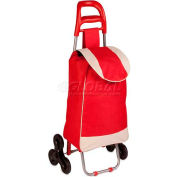 """Large Rolling Knapsack Fabric Bag Cart With Tri-Wheels, Red, 17-5/16"""" L x 11-13/16"""" W x 39-3/8"""" H"""