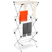 3-Tier Portable Top Clothes Drying Rack, Silver/Blue, Steel/Nylon Mesh, 48-Linear Feet Capacity