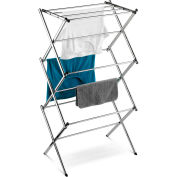 3-Tier Slim Accordion Commercial Clothes Drying Rack, Chrome, Steel, 18-Linear Feet Capacity
