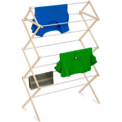3-Tier Knockdown Clothes Drying Rack, Natural/White, China Hardwood, 16-Linear Feet Capacity