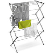 3-Tier Accordion Clothes Drying Rack, Chrome Plated Steel, 24-Linear Feet Capacity