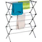 3-Tier Deluxe Oversize Clothes Folding Drying Rack, Silver, Steel, 28.5-Linear Feet Capacity