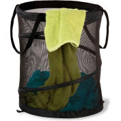 Large Breathable Pop-Up Open Spiral Laundry Hamper, Black, Mesh