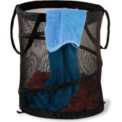 Medium Breathable Pop-Up Open Spiral Laundry Hamper, Black, Mesh