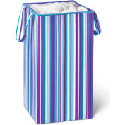 Square Folding Laundry Hamper With Handles, Bright Blue/Purple Stripe/Polycotton
