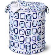 Large Pop-Up Open Spiral Laundry Hamper w/Zipper Lid, Blue Squares, Polycotton