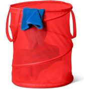 Large Breathable Pop-Up Open Spiral Laundry Hamper, Red, Mesh