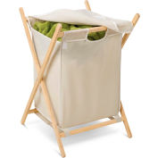 X-Frame Folding Laundry Hamper With Removable Covered Bag, Natural Wood/Beige Canvas, Wood