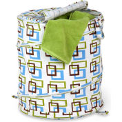 Large Pop-Up Open Spiral Laundry Hamper w/Zipper Lid, Brown/Green Squares, Polycotton