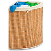 Wicker Corner Bamboo Laundry Hamper With Liner, Natural Bamboo/Beige Canvas