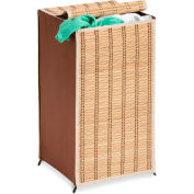 Tall Bamboo Wicker Weave Laundry Hamper w/Cover, Natural Bamboo