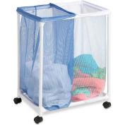 Double Bag Laundry Hamper Sorter With Removable Bag, Blue/White, Nylon Mesh/PVC