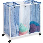 Triple Mesh Bag Laundry Hamper Sorter With Removable Bag, Blue/White, Nylon/PVC