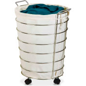 Canvas And Chrome Laundry Hamper On Rolling Casters, White/Chrome, Steel/Polycotton