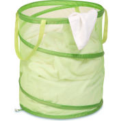 Large Breathable Pop-Up Open Spiral Laundry Hamper, Lime Green, Mesh