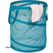 Large Breathable Pop-Up Open Spiral Laundry Hamper, Ocean Blue, Mesh