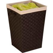 Double Woven Strap Laundry Hamper With Liner, Espresso/Black, Polypropylene/Linen