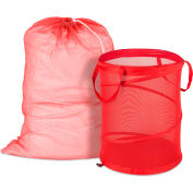 Mesh Laundry Bag & Hamper Kit, Red, Nylon Mesh