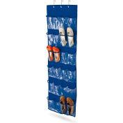 24 Pocket Over-The-Door Closet Shoe Organizer, Polyester, Navy