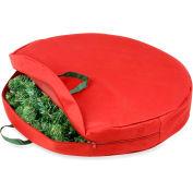 "Holiday 30"" Zipper Canvas Wreath Storage, Red/Pine Green"