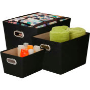 Decorative Storage Bin With Handles 3 Size (Small, Medium, Large) Kit, Black