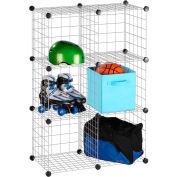 "6 Pack Modular Mesh Storage Cube, Silver, 29""W x 14-1/2""D x 43""H"