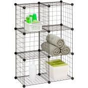 "6 Pack Modular Mesh Storage Cube, Black, 29""W x 14-1/2""D x 43""H"