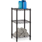 """3-Tier Black Wire Shelving Tower 15""""L x 14""""W x 30""""H"""