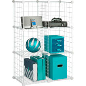 "6 Pack Modular Mesh Storage Cube, White, 29""W x 14-1/2""D x 43""H"