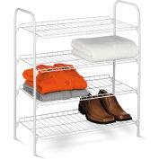 4 Tier Wire Shoe & Accessory Shelf/Closet Storage Shelf, White