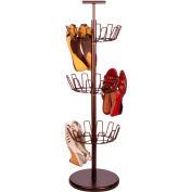 3 Tier Revolving Shoe Tree, Bronze, Powder Coated Steel, 18 Pair Capacity