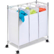 Urban Triple Laundry Sorter On Rolling Casters, White/Chrome, Steel/Mesh