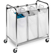 Heavy-Duty Triple Section Laundry Sorter, Chrome, Steel/Cotton/Plastic