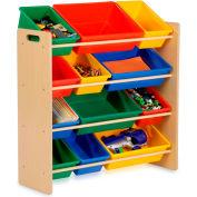 "Kids Storage Organizer With 12 Assorted Bins, Natural, 33-1/4""W x 12-1/2""D x 36""H"