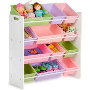 """Kids Storage Organizer With 12 Assorted Bins, White, 33-1/4""""W x 12-1/2""""D x 36""""H"""