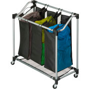 Elite Triple Laundry  Sorter On Casters, Black, Steel/Polyester