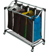 Elite Quad Laundry Sorter On Casters, Black, Grey, Steel/Polyester