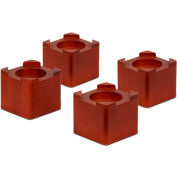 """4-1/4""""L x 4-1/4""""W Stackable Bed Risers - Dark Finish, Wood, Fits Up to 2-3/4"""" Diameter, 4 pack"""
