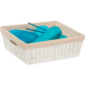"""Paper Rope Shelf Tote with Liner - White 15""""L x 13""""W x 5""""H - Pkg Qty 2"""