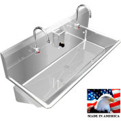"""BSM Inc. Stainless Steel Sink, 2 Station w/Electronic Faucets, Wall Mounted 42"""" L X 20"""" W X 8"""" D"""
