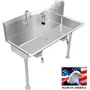 """Stainless Steel Sink, 2 Station w/Knee Operated Faucets 42"""" L X 20"""" W X 8"""" D"""