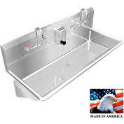 """Stainless Steel Sink, 2 Stations w/Manual Faucets Wall Mounted 40"""" L X 20"""" W X 8"""" D"""