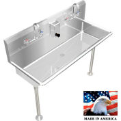 """Stainless Steel Sink, 2 Stations w/Manual Faucet, Straight Legs 40"""" L X 20"""" W X 8"""" D"""