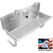 """Stainless Steel Sink, 2 Stations w/Manual Faucets Round Tube Faucets 40"""" L X 20"""" W 8"""" D"""