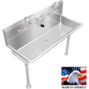 """Stainless Steel Sink, 2 Station w/Manual Faucets, Straight Legs 48"""" L X 20"""" W X 8"""" D"""